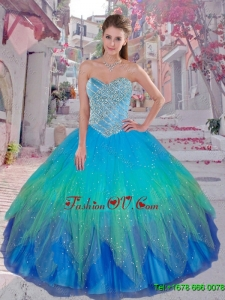 Cheap Multi Color Sweetheart Sweet 16 Dresses with Beading