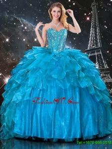 Classic Ball Gown Beaded Detachable Quinceanera Gowns in Blue