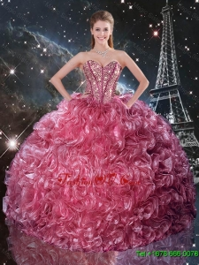 Classic Ball Gown Coral Red Sweet 16 Dresses with Ruffles and Beading
