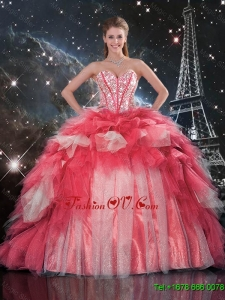 Classic Beaded Ball Gown Quinceanera Dresses with Brush Train