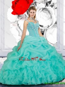 Classic Beaded Ball Gown Straps Sweet 16 Dresses in Turquoise