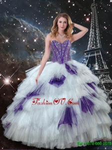 Classic Sweetheart Beaded Quinceanera Dresses in White and Purple