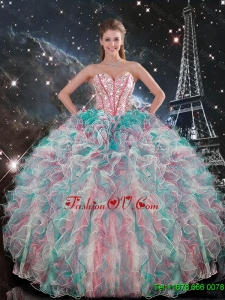 Classic Sweetheart Beaded and Ruffles Quinceanera Gowns in Multi Color