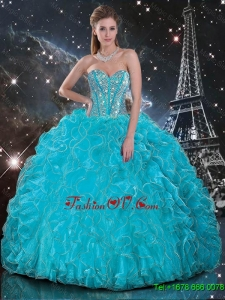 Designer Aqua Blue Sweetheart Quinceanera Gowns with Beading and Ruffles