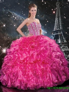Designer Floor Length Quinceanera Gowns with Beading and Ruffles