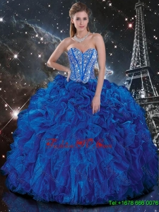 Designer Royal Blue Quinceanera Dresses with Beading and Ruffles