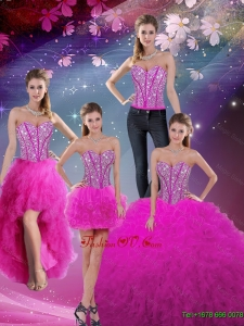 Designer Sweetheart Ball Gown Beaded and Ruffles Quinceanera Dresses in Fuchsia