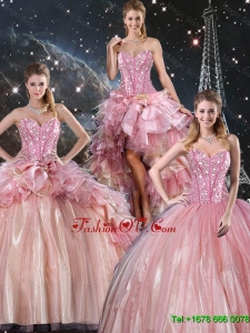 Beautiful Ball Gown Beaded Tulle Detachable Sweet 16 Dresses with Belt for Winter