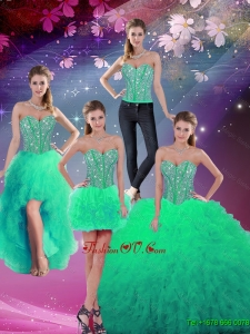 Luxurious Sweetheart Beaded and Ruffles Detachable Quinceanera Dresses in Apple Green for 2016 Spring