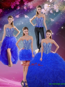 Perfect Sweetheart Beaded and Ruffles Royal Blue Detachable Quinceanera Dresses
