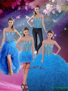 Perfect Sweetheart Floor Length Beaded Detachable Quinceanera Dresses in Teal