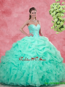 Affordable Sweetheart Apple Green Quinceanera Gowns with Beading