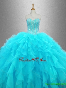 Elegant Beaded Sweetheart Quinceanera Gowns in Aqua Blue