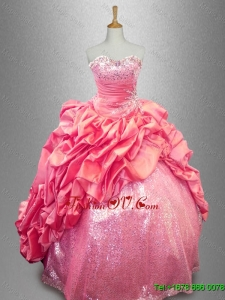 Latest Strapless Beaded Quinceanera Dresses in Coral Red