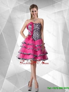 2016 Spring Discount A Line Strapless Zebra Prom Dresses with Ruffled Layers