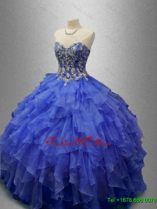 2016 Classical Beaded Blue Quinceanera Gowns with Ruffles