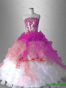 Appliques Ball Gown Classical Sweet 16 Gowns with Ruffles for 2016