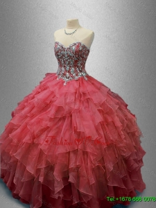 Beautiful Beaded and Ruffles Quinceanera Gowns in Organza