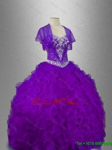 Best Selling Beaded Sweetheart Quinceanera Gowns in Purple for 2016