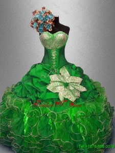 Best Selling Green Quinceanera Dresses with Sequins and Ruffles