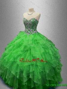 Fashionable Beaded Sweetheart Quinceanera Dresses in Green
