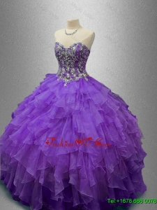 New Style Purple Sweet 16 Gowns with Beading and Ruffles