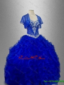 Romantic Sweetheart Quinceanera Dresses with Beading and Ruffles in Blue for 2016
