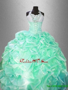 Classical Halter Top Sweet 16 Gowns with Hand Made Flowers