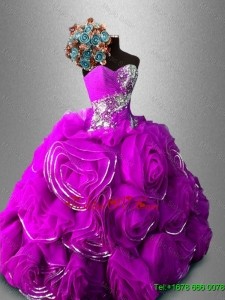 Gorgeous Rolling Flowers Sweetheart Quinceanera Dresses in Fuchsia