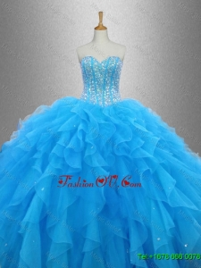 Latest Beaded Organza Quinceanera Dresses with Ruffles for 2016