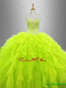 Yellow Green Beautiful Quinceanera Dresses with Ruffles for 2016