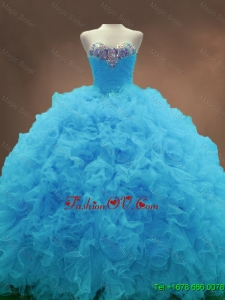 2016 Beautiful Aqua Blue Ball Gown Quinceanera Gowns with Sweetheart