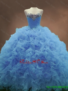 2016 Popular Sweetheart Ruffles and Beaded Quinceanera Gowns in Blue