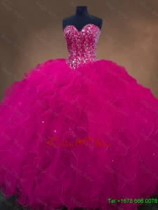 Luxurious Sweetheart Beaded Quinceanera Dresses in Hot Pink