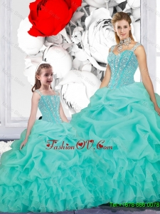 2016 Spring New Style Ball Gown Straps Matching Sister Dresses in Turquoise