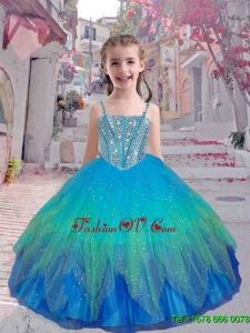 2015 Fall New Style Straps Multi Color Mini Quinceanera Dresses with Beading