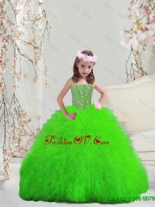 2015 Fall New Style Suitable Spring Green Spaghetti Mini Quinceanera Dresses with Beading and Ruffles