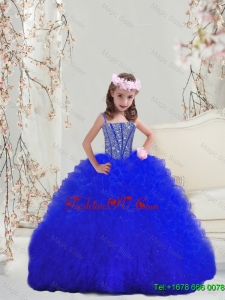 2016 Spring Perfect Beaded and Ruffles Royal Blue Mini Quinceanera Dresses with Spaghetti