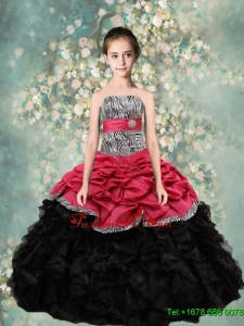 2016 Spring Perfect Strapless Mini Quinceanera Dresses with Zebra and Ruffles
