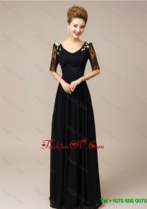Cheap Lovely Gorgeous Half Sleeves Laced Black Prom Dresses with V Neck