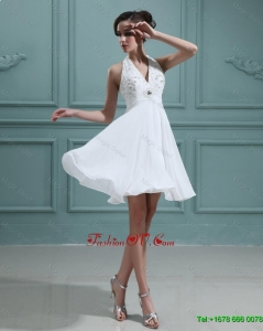 2016 Cheap Empire Halter Top White Prom Dresses with Beading