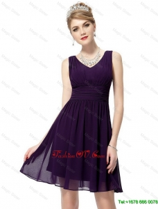 Beautiful Classical Luxurious V Neck Dark Purple Prom Dresses with Ruching