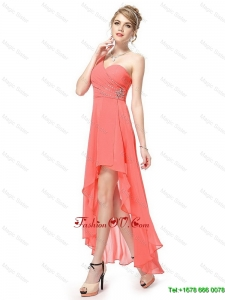 Latest High Low One Shoulder Prom Dresses with Side Zipper