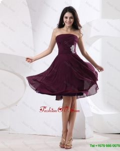 Luxurious Perfect Pretty Strapless Brown Short Prom Dress with Appliques