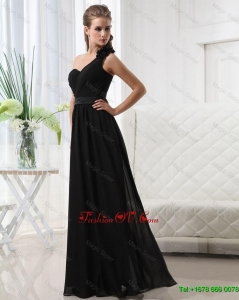 Modest Empire One Shoulder Prom Dresses with Belt