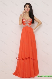Perfect Pretty New Arrivals Brush Train Prom Dresses with High Slit and Beading