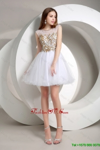 Popular A Line Beaded Mini Length Prom Dresses in White