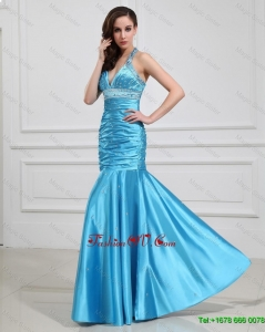Sweet Best Selling Mermaid Halter Top Prom Dresses with Beading in Baby Blue