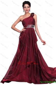 Wine Red Long Prom Dress with Beading and Hand Made Flowers