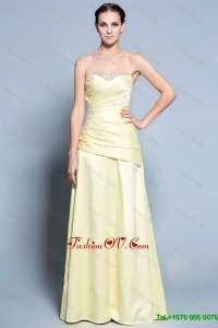 Wonderful Column Sweetheart Prom Dresses with Beading in Light Yellow